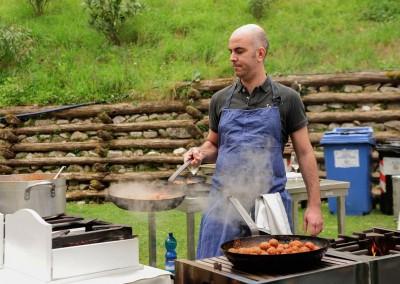 """Cooking Show : Chef Gaio Giannelli de Il Pozzo di Bugia a Querceta con il suo piatto : Germano Reale e Folaghe. In Accompagnamento il vino """"Terre di Sotto"""" dell'azienda vitivinicola Castello Ripa D'Orcia"""