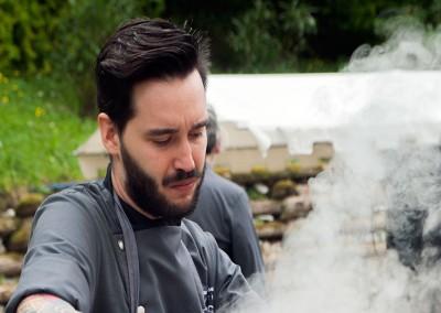 """Cooking Show - Chef Andrea Madonia del ristorante """"Fubi'S"""" Viareggio con il suo piatto:Risotto alla clorofilla di stagione. In accompagnamento il vino """"Soffio"""" dell'azienda vitivinicola il Calamaio (LU)"""